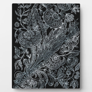 silver florals inlay style plaque
