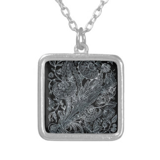 silver florals inlay style silver plated necklace