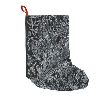 silver florals inlay style small christmas stocking