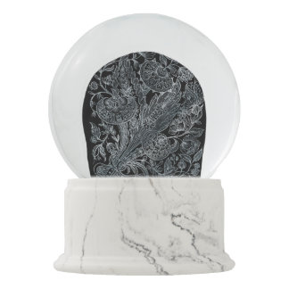 silver florals inlay style snow globe