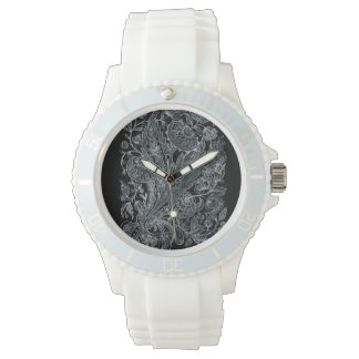 silver florals inlay style watch