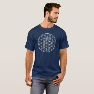 Silver Flower Of Life Mandala Sacred Geometry Mens T-Shirt