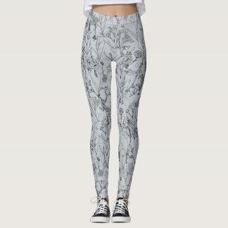 Silver Flower Sketch Leggings