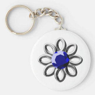 Silver flower with blue stone keychain