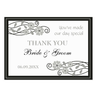 Silver Flowers Wedding Favor Gift Tags Pack Of Chubby Business Cards