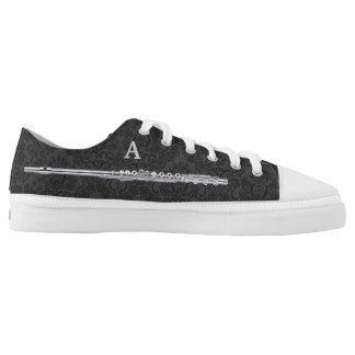 Silver Flute Custom Initial Black Damask Effect Low-Top Sneakers