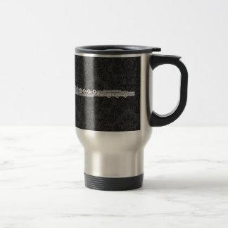Silver Flute on Black Damask Travel Mug