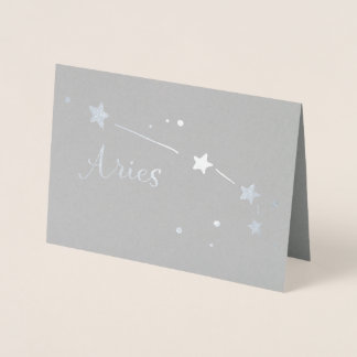 Silver Foil Aries Zodiac Constellation Foil Card