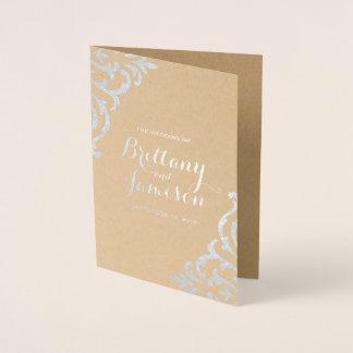 Silver Foil Damask Elegant Kraft Wedding Program Foil Card