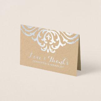 Silver Foil Damask Elegant Kraft Wedding Thank You Foil Card