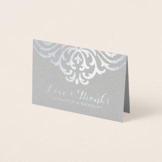 Silver Foil Damask Elegant Wedding Thank You Foil Card