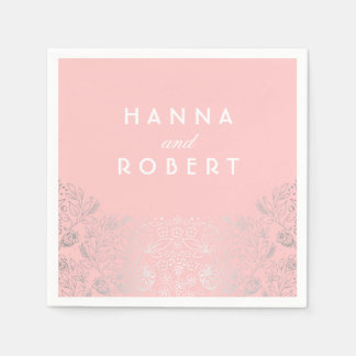 Silver Foil Effect Floral Countryside Pink Wedding Paper Napkin