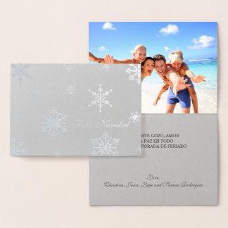 Silver Foil Elegant Script Feliz Navidad Photo Foil Card
