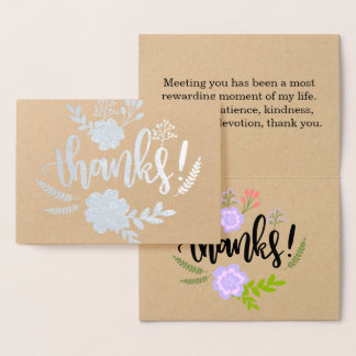 Silver Foil floral typography Sincere thank you Foil Card