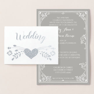 Silver Foil Floral Typography Wedding Invitations