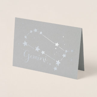 Silver Foil Gemini Zodiac Constellation Foil Card