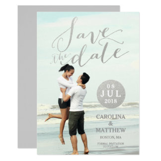 "Silver Foil Glamor | Photo Save the Date Card 5"" X 7"" Invitation Card"