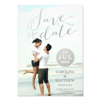 "Silver Foil Glamor | Photo Save the Date Card 5"" X 7"" Invitation Card"