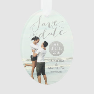 Silver Foil Glamor | Photo Save the Date Holiday Ornament