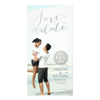 Silver Foil Glamor   Save the Date Photo Card