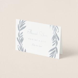 Silver Foil Gray Leaf Wreath Wedding Thank You Foil Card