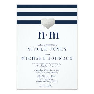 Silver Foil Heart + Stripes Wedding Invitations