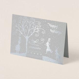 Silver Foil Hoppy Holidays Christmas Greeting Card
