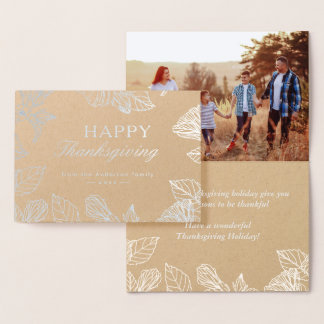 Silver Foil Kraft Autumn Leaves Happy Thanksgiving Foil Card