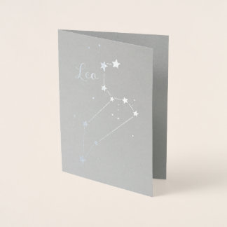 Silver Foil Leo Zodiac Constellation Foil Card