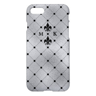 Silver Foil Look with Black Dots and Fleur de Lis iPhone 7 Case
