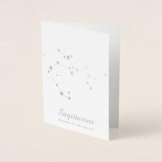 Silver Foil SAGITTARIUS Zodiac Sign Constellation Foil Card