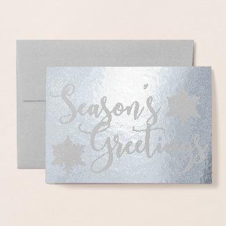 Silver Foil Seasons Greetings Snowflake Photo Card