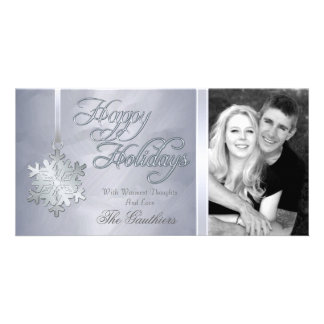 Silver Foil Silver Snowflake Holiday Photo Card
