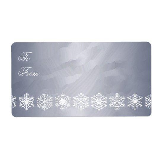 Silver Foil Snowflake Trim Christmas Gift Tag