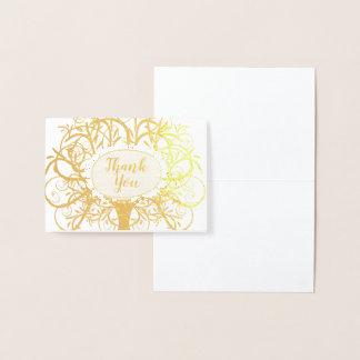 Silver Foil Swirl Tree Thank You Foil Card