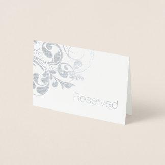 Silver Foil Swirls Elegant Flourish Reserved Foil Card