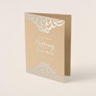 Silver Foil Vintage Elegance Kraft Wedding Program Foil Card