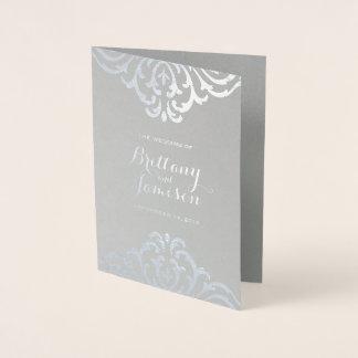 Silver Foil Vintage Elegance Wedding Program Foil Card