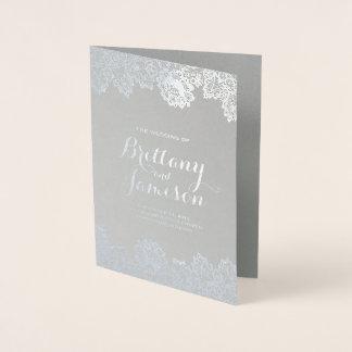 Silver Foil Vintage Lace Elegant Wedding Program Foil Card