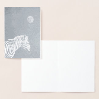 Silver Foil Zebra with Moon Foil Card