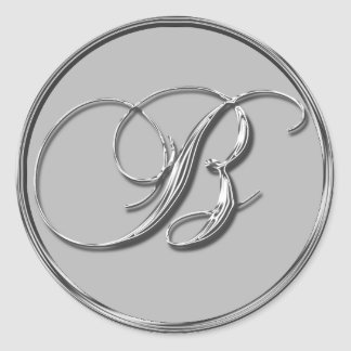 Silver Formal Wedding Monogram B Seal Invite RSVP Round Sticker