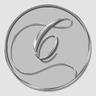 Silver Formal Wedding Monogram C Seal Round Sticker