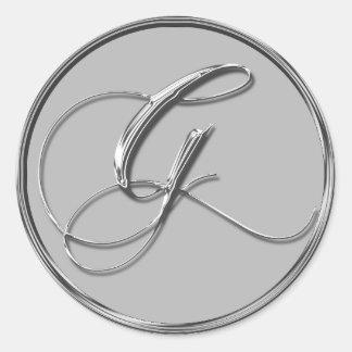 Silver Formal Wedding Monogram G Seal Round Sticker