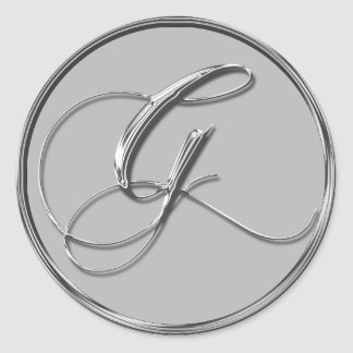 Silver Formal Wedding Monogram G Seals Round Sticker