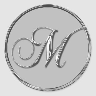Silver Formal Wedding Monogram M Invitation Seal Round Sticker