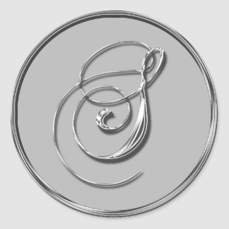 Silver Formal Wedding Monogram S Seal RSVP Round Sticker