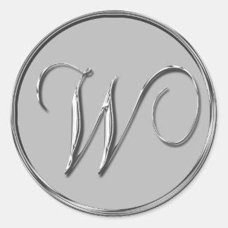 Silver Formal Wedding Monogram W Seal Weddings Round Sticker