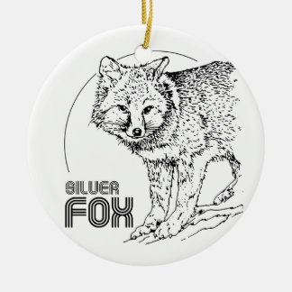 SILVER FOX VINTAGE ROUND CERAMIC ORNAMENT