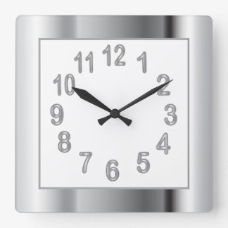 Silver Frame and Numbers | Choose Background Color Wallclock