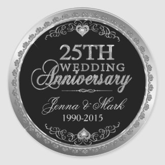 Silver Frame & Hearts 25th Wedding Anniversary Classic Round Sticker